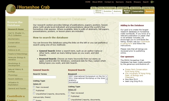 Horseshoe Crab Research Database http://horseshoecrab.org/research/